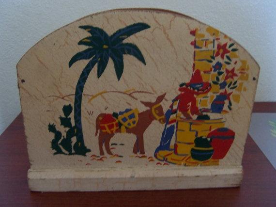 Vintage Southwestern Napkin Holder by doyourememberwhen on Etsy, $12.00