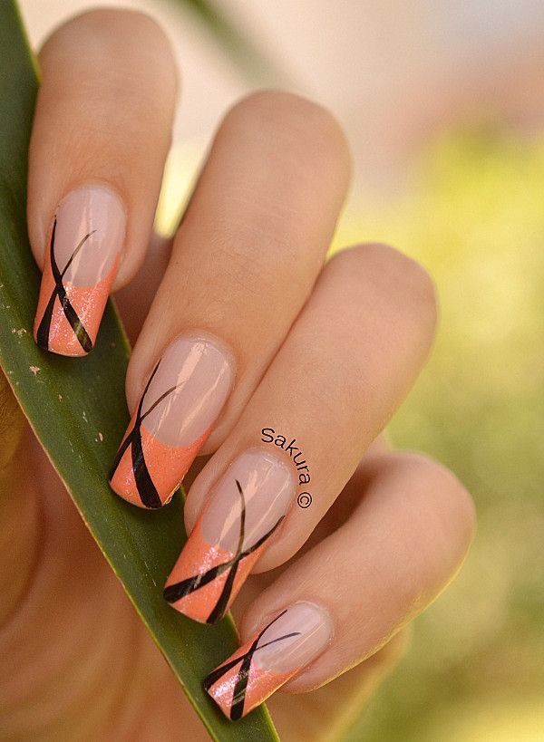 Nail Art French Graphique.....don't care for the orange, would be cute in a different color.