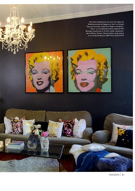 Popart with a twist of modern hues and attention grabbing chandelier