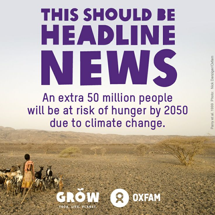 An extra 50 million people will be at risk of hunger by 2050 due to climate change. SHARE this post and see what you can do here: https://www.oxfamireland.org/getinvolved/food-climate-justice #hunger #climatechange