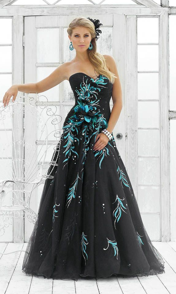 Sweetheart Black Prom Ballroom Dress