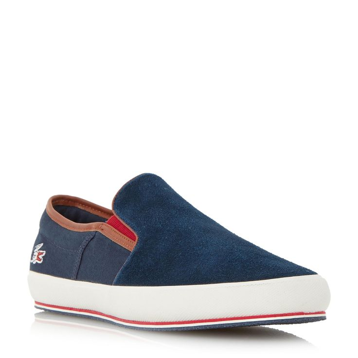 LACOSTE MENS GAZON 7 - Canvas Slip On Trainer - navy | Dune Shoes Online