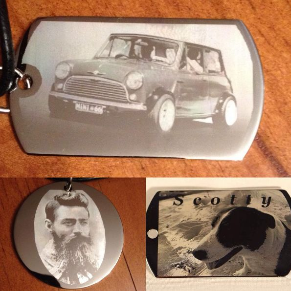 #mengifts #cars #dogs #nedkelly #keyrings #dogtag #personalized #perfectgift #engraved #photo #giftlovers #carlovers #engravedpendants #gift We at CUSTOM IMAGE ENGRAVING can engrave your favourite photo onto a custom made pendant that will be a treasured keepsake .. Call 0431870620 or order online www.customimageengraving.com.au