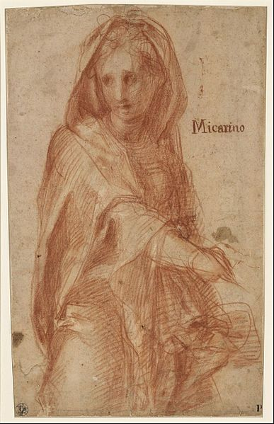 Jacopo Pontormo (actually Jacopo Carrucci) - Female figure with covered head (study for a figure in the fresco of the Visitation in Santissima An... - Google Art Project.