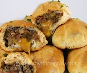 Bacon Cheeseburger Bombs! Love it? Pin it! Follow Spend With Pennies on Pinterest for more great recipes! These are super delicious and simple to put together and my kids just gobble them up... who am I kidding, so do I!! Cheese, ground beef, onions...