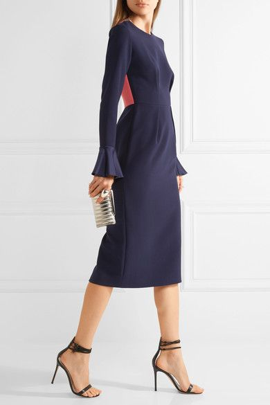 Midnight-blue stretch-crepe, bright-pink crepe Concealed hook and zip fastening at back 76% polyester, 10% viscose, 9% silk, 5% elastane; lining: 76% acetate, 18% silk, 6% polyamide Dry clean Made in the UK
