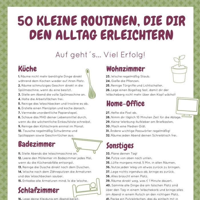Checkliste mit 50 kleinen Haushaltsroutinen. #haushalt #routinen #liste #plan #haushaltsfee