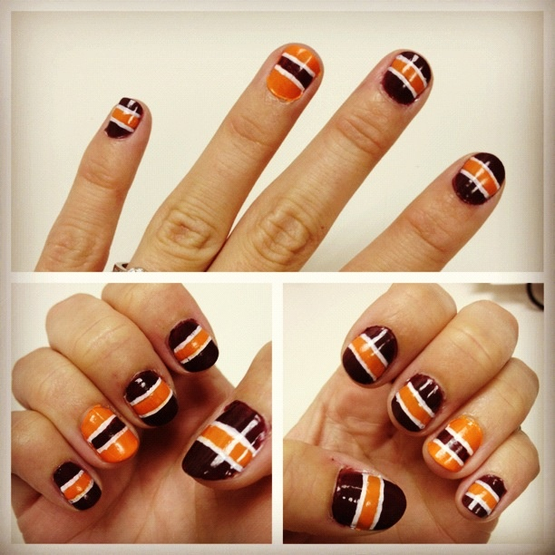 Game day jersey stripe nails. Virginia Tech