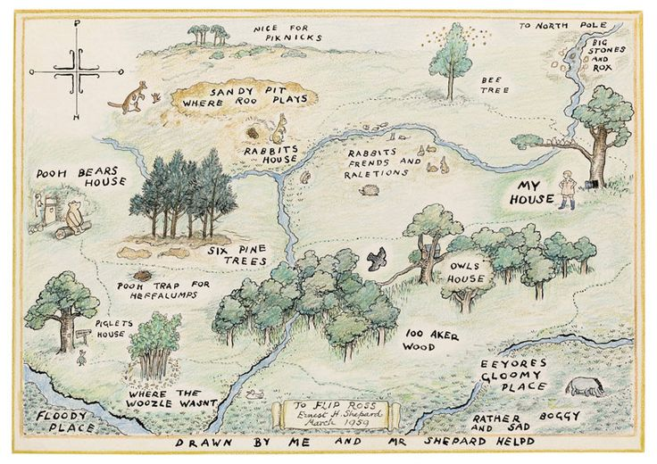 1926 E. H. Shepard (English illustrator, 1879-1976) ~ Map of the 100 Acre Wood, Drawn by Christopher Robin with Assistance from Mr. Shepard.