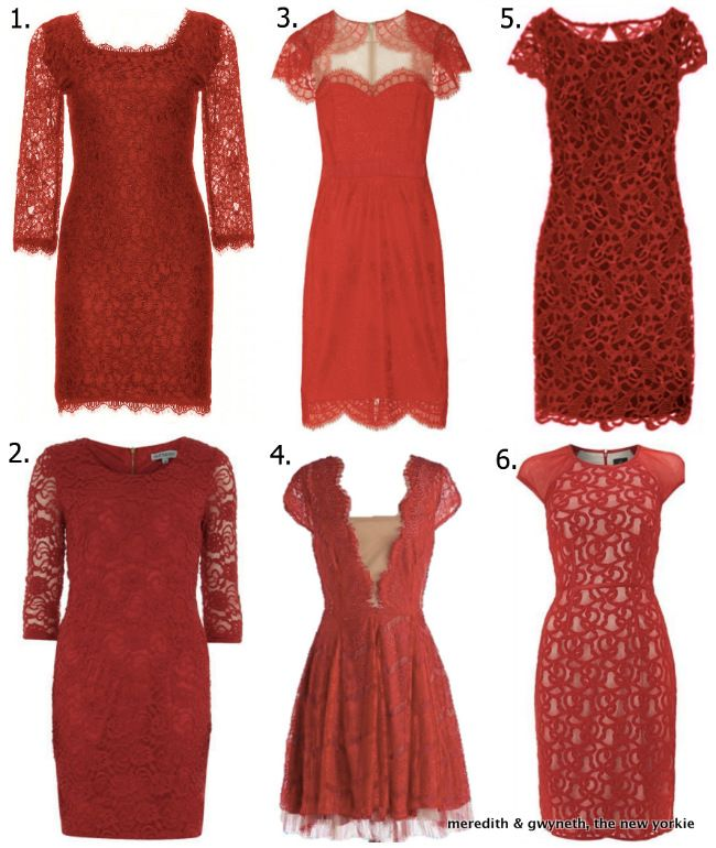 Splurges & Steals - Red Lace Holiday Party Dresses