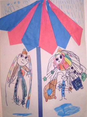 * In de regen! Vouw een paraplu en plak deze op. Teken jezelf eronder, in de regen. TIP: stevige vouwblaadjes gebruiken alleen de achterkanten iets over elkaar heen vouwen dan opplakken zo krijg je een 3-d effect!