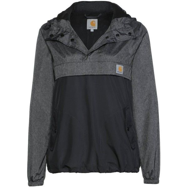 Carhartt X' BLUSTER Summer jacket ($115) ❤ liked on Polyvore featuring outerwear, jackets, sweaters&such, womens clothes, black, carhartt jacket, pocket jacket, summer jackets, long sleeve jacket and nylon jacket