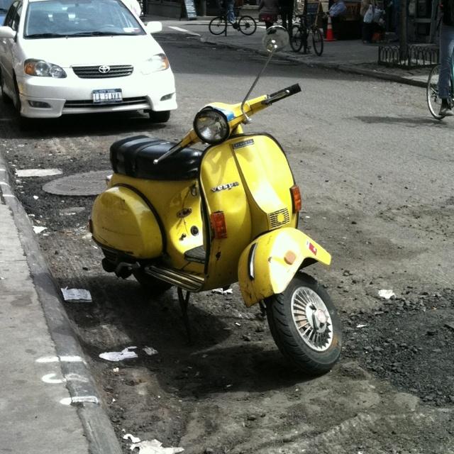 Yellow Vespa. Lower East Side.