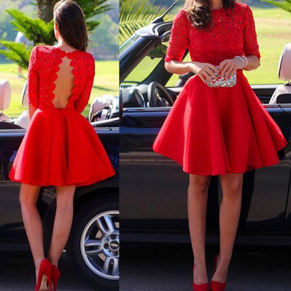 classy prom dresses,Red A-line Bateau Short Mini Chiffon
