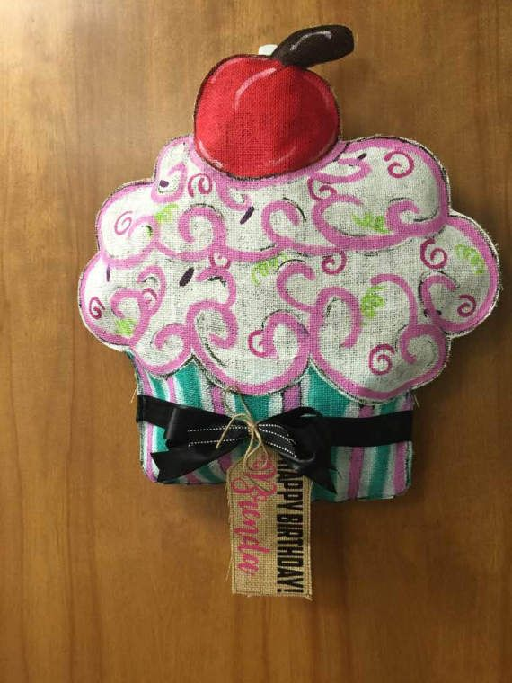 Burlap Cupcake Door Hanging Wreath by Goofyloopies on Etsy