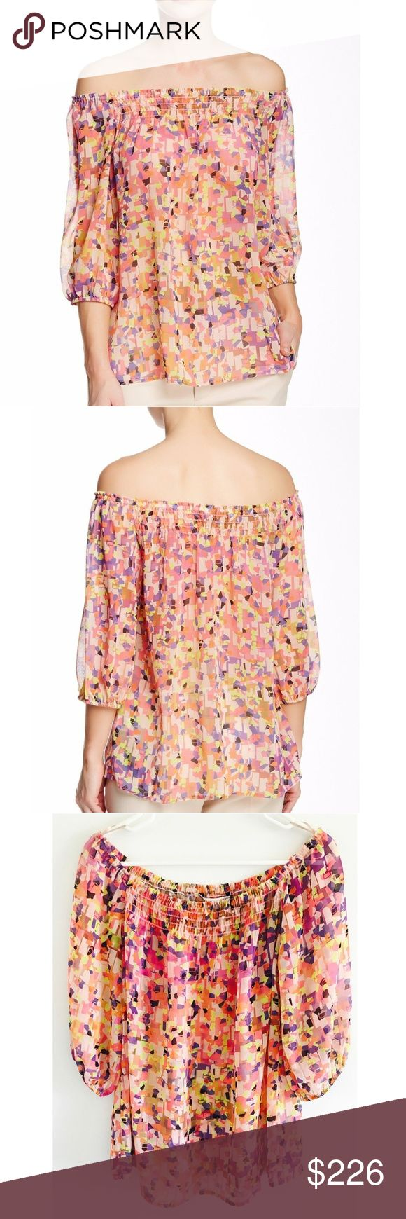 "Trina Turk Off the Shoulder Reid Blouse in Size S TRINA TURK OFF THE SHOULDER REID BLOUSE 3/4 LENGTH SLEEVES ALL OVER PRINT SMOCKED YOKE UNLINED APPROX. 24"" LENGTH 100% POLYESTER IMPORTED NORDSTROM RACK TAG ATTACHED Trina Turk Tops Blouses"