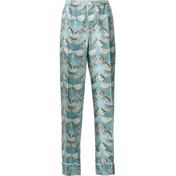 F.R.S. ETERE BUTTERFLY PRINT SILK TROUSERS (6.663.505 IDR) ❤ liked on Polyvore featuring pants, tall pants, tapered trousers, pastel pants, silk pants and stretch waist pants