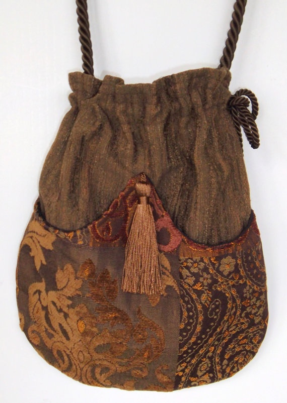 Elegant Brown and Gold Woven Patchwork Boho Bag  by piperscrossing, $40.00