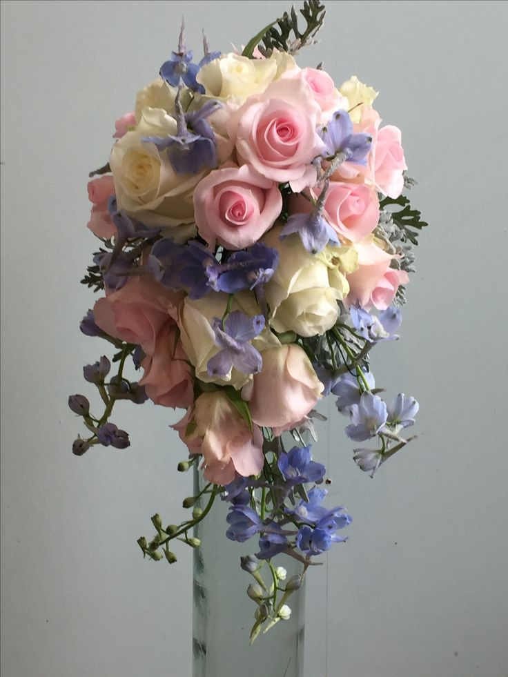 Gorgeous fully wired bouquet in pinks and blues