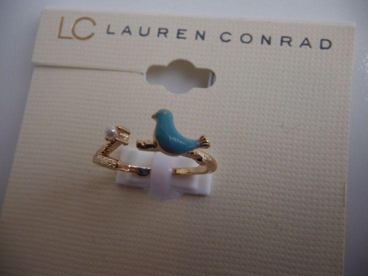LC LAUREN CONRAD Open Ring Bird Faux Pearl Size 7 Gold-Toned Green Enamel