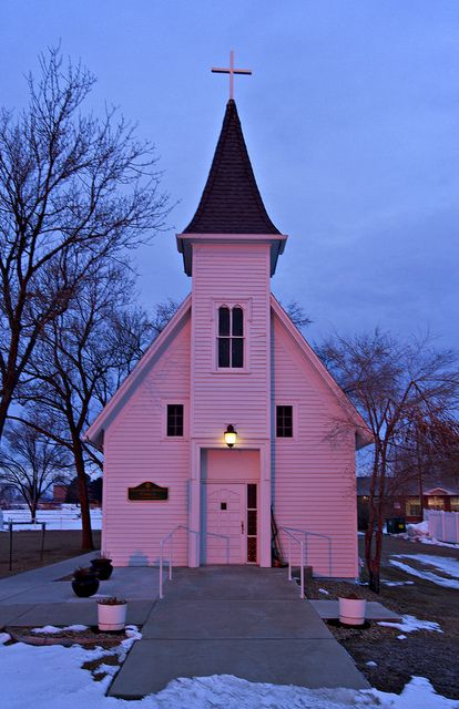 Little Pink Churches for You and Me    Oh ain't that America.......  the Un-ultimate drive by this morning - didn't even have time to blink - got one shot off at 1/45 of sec - not my best - i didn't even have time to grab the tripod before it was gone......