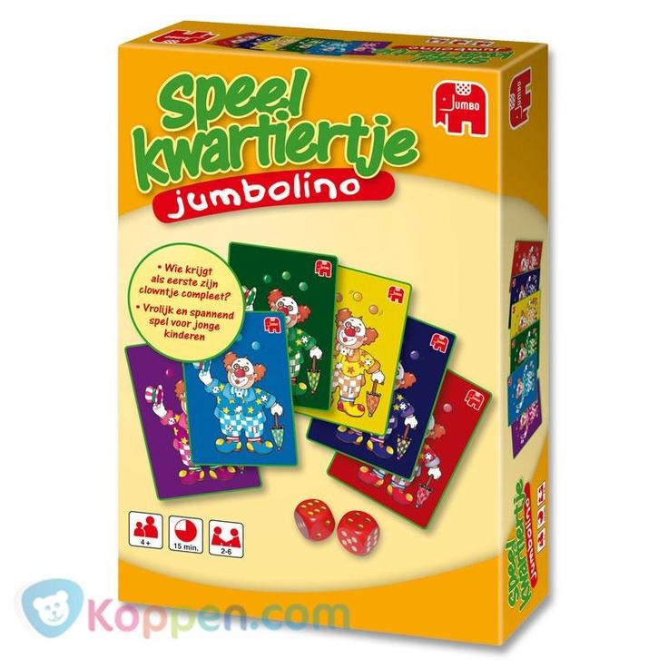 Jumbo, Speelkwartiertje, jumbolino. Dit gezellige familie kaartspel is leuk voor jong en oud. Je beste vriendje Ernie speelt de hoofdrol in Jumbolino. Wees de ander te slim af en win! http://www.koppen.com/producten/categorie/merken/sub-categorie/jumbo/geslacht/jongen/leeftijd/vanaf-4-jaar/materiaal/karton/merk/jumbo/aanbieding/all/prijs/-5,00-10,00/product/8312215 Prijs: € 7,51