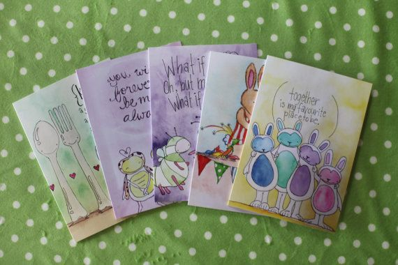Set of five cards printed from original by LilyandGingerCandles