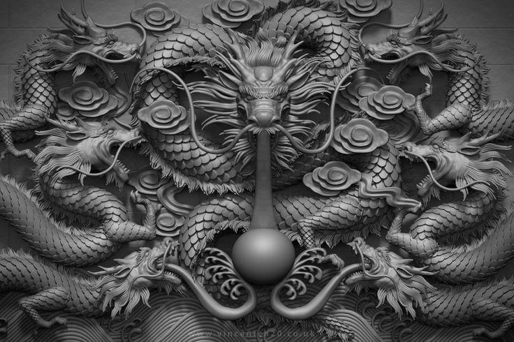 Dragon Wall, Vincent Chai on ArtStation at https://www.artstation.com/artwork/qvXke