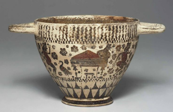Corinthian black-figured kotyle, Middle Corinthian, 600-550 B.C.   Encircled by a frieze of komasts, one side centered by a reclining bearded banqueter, his head turned back, a laden table and a footstool in front of the kline, two padded dancers to the right, a duck and a padded dancer to the left, the other side centered by a padded dancer facing two others to his right, a nude female to the left squatting above a column-krater, details in added red 9.2 cm high. Private collection