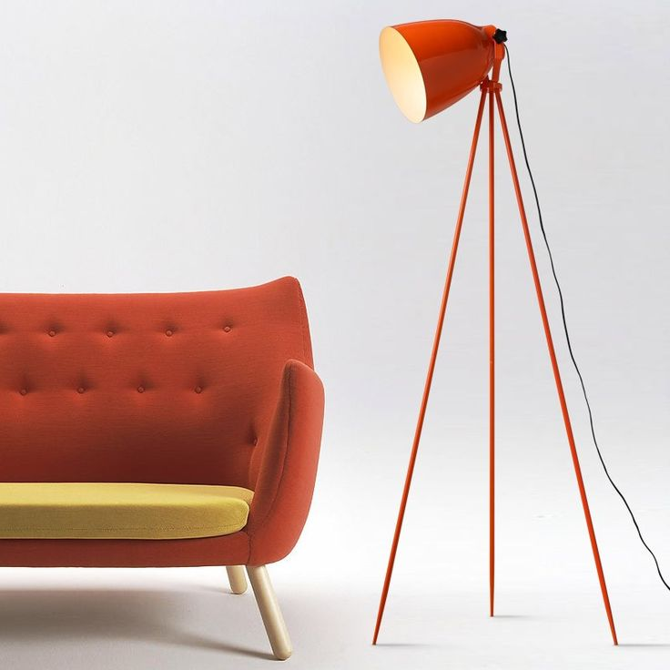Contemporary Orange Metal Floor Lamp with Bell Shade and Tripod Base