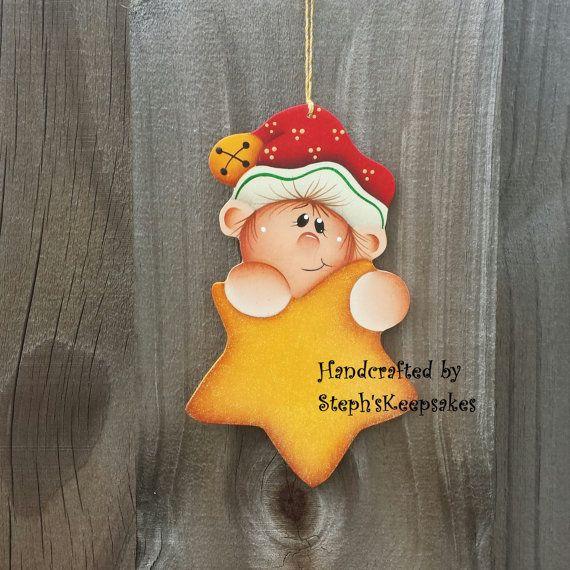*TOLE - TALLY CUTE! ~ Handpainted  Christmas elf  Ornament, Christmas crafts, wooden Christmas ornaments, tree decor, elves,