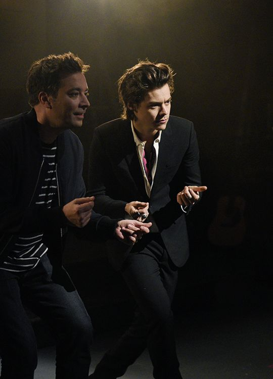 Jimmy Fallon and musical guest Harry Styles pose in Studio 8H on April 11, 2017.