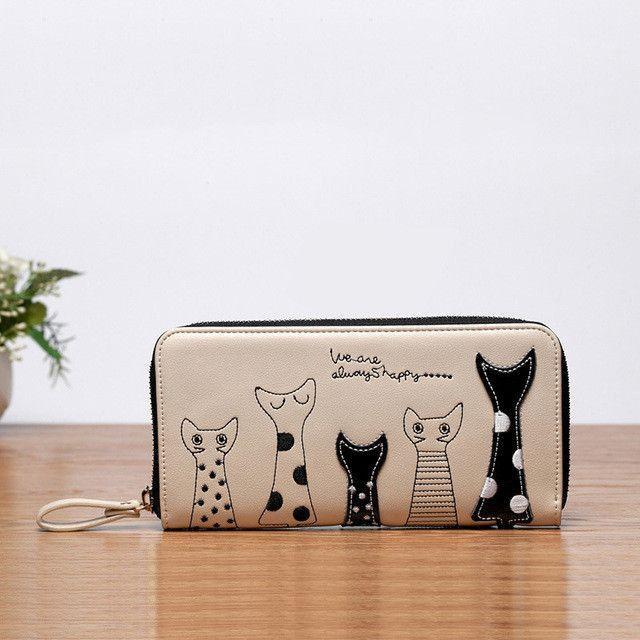 Cat Cartoon Wallet Long Creative Female Card Holder Casual