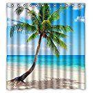 Palm Emerald Ocean Tropical Coast Beach Sea Bathroom Fabric Shower Curtain 66(W)X72(H) With Hooks