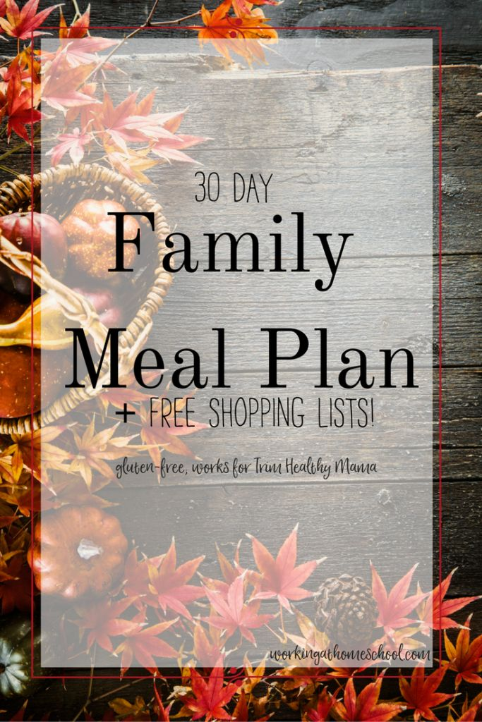 A 30-Day Trim Healthy Mama Meal Plan! Gluten-free Menu, works for Paleo, too! Free printable shopping lists