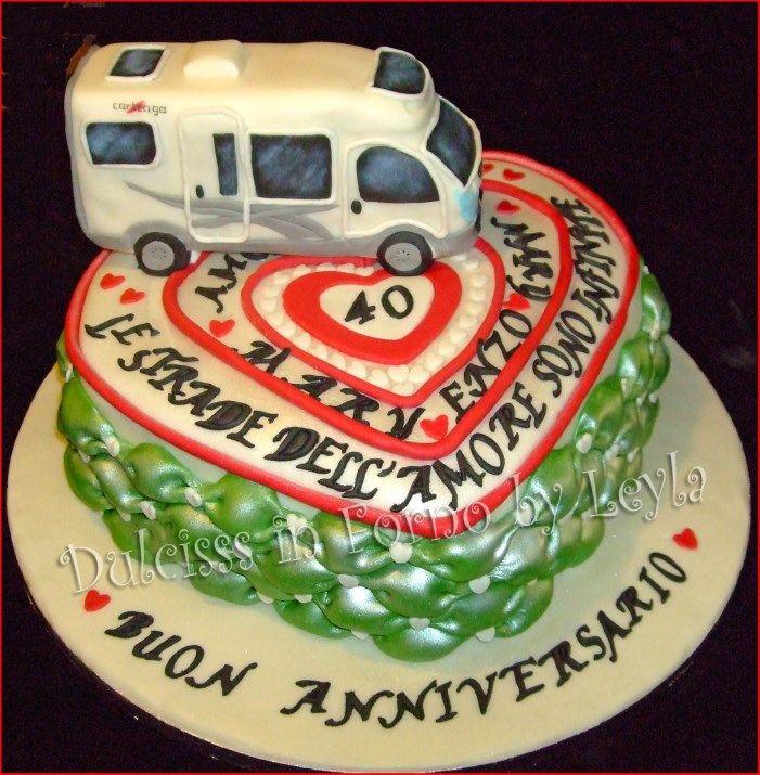 Torta Anniversario di Matrimonio cuori e camper in pasta di zucchero - Anniversary cake fondant
