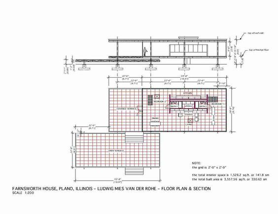 Plan & Section. The Edith Farnsworth House, Plano, Illinois, 1951   Ludwig Mies van der Rohe: