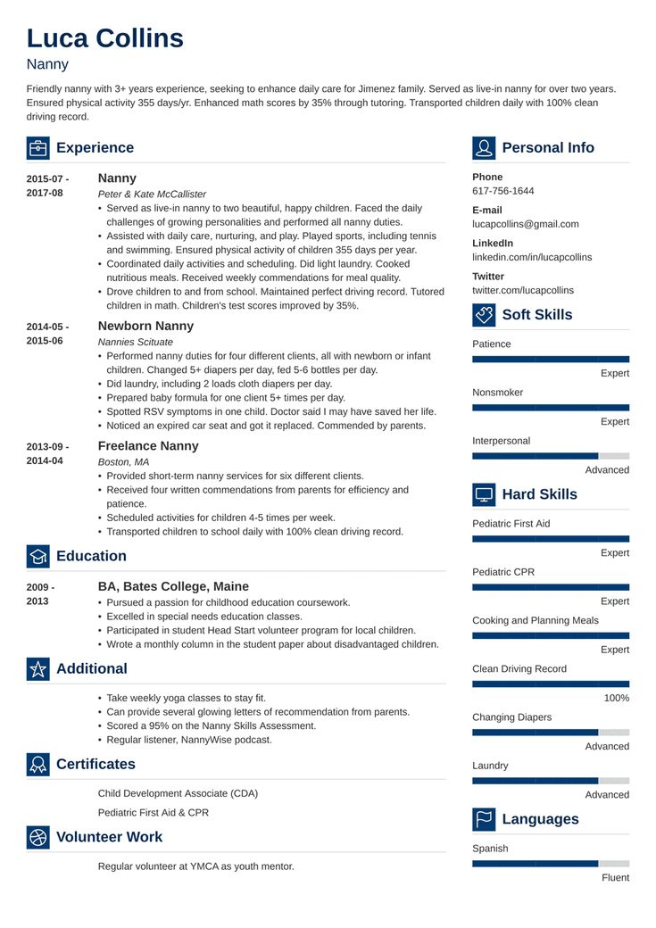 nanny resume template vibes  resume template resume