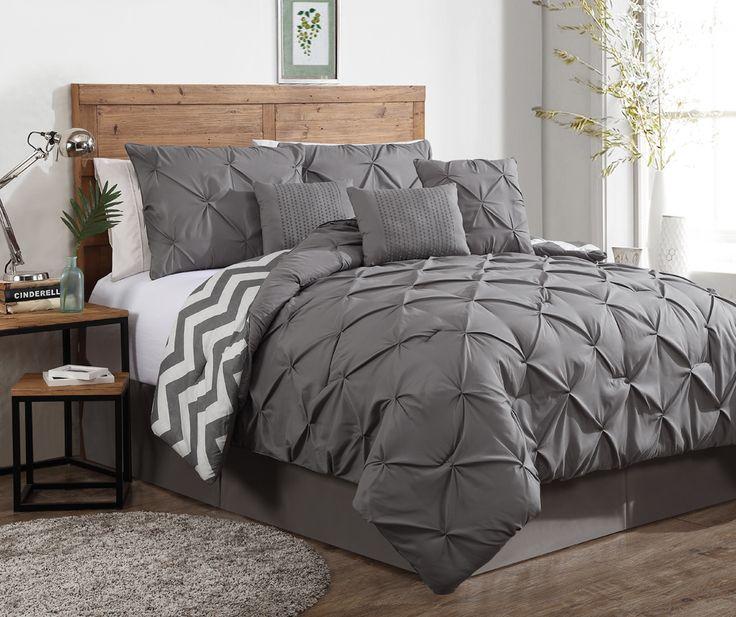 7 Piece Ella Pinch Pleat Reversible Comforter Set Grey