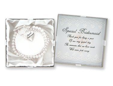 D.M. Bridesmaid Pearl Charm Bracelet with Gift Box DM Merchandising. $7.69. Special bridesmaid necklace gift set. Features double strand faux pearls. Includes heart felt verse. Comes in a beautiful gift box. Heart shaped toggle and charm