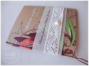 Protea and lace wedding invite