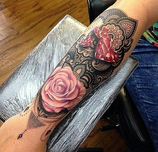 Arm Rose Jewelry Diamond Heart Sleeve Tattoo