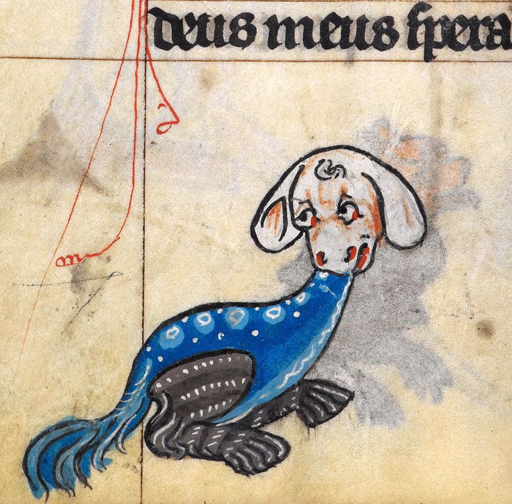 (dragon doggy?) The Maastricht Hours', Liège 14th century. British Library, Stowe 17, fol. 182v