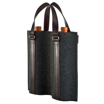 Duo Felt Wine Carrier. Transport two bottles of wine in style with this felt and leather carrier bag. $129.00