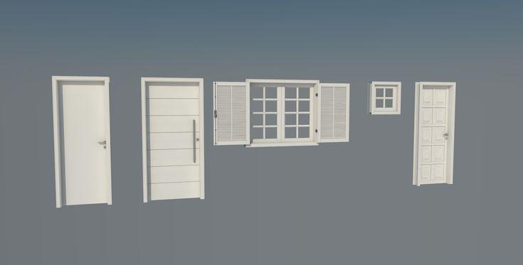 Conjunto de portas e janelas de madeira dinâmicas - 3D Warehouse