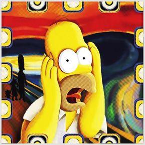 O Grito de Homer - Quadrinhos confeccionados em Azulejo no tamanho 15x15 cm.Tem um ganchinho no verso para fixar na parede. Inspirado em Pinturas. Para entrar em contato conosco, acesse: www.babadocerto.com.br