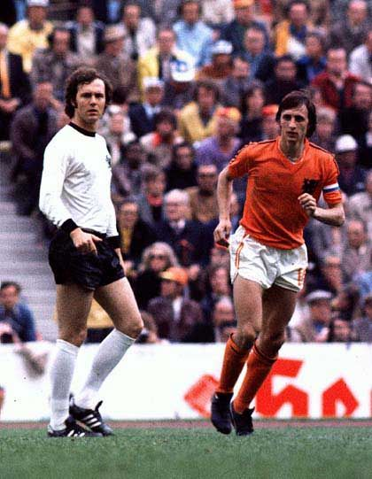 Beckenbauer and Cruijff at the 1974 World Cup final between West Germany and Netherlands.