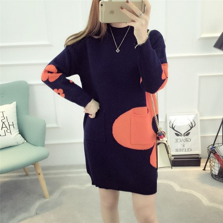 38.91$  Buy now - http://alihhx.shopchina.info/go.php?t=32806501046 - Autumn and winter clothing 2017 new maternity dress loose fashion sweater high collar sweater in the long section  #aliexpress