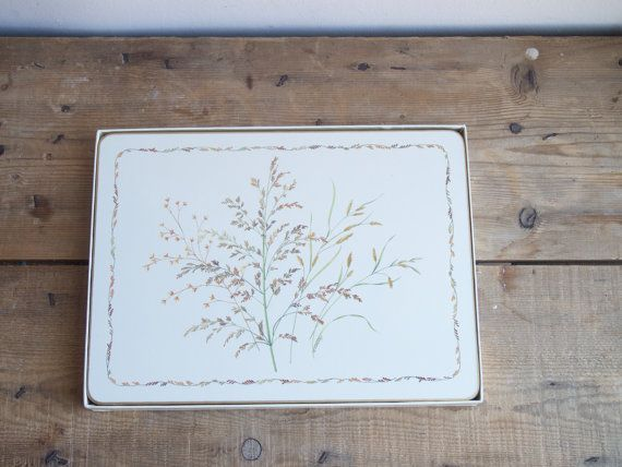 CloverLeaf Tableware Cork and Acrylic Placemats Wild Grasses Vintage table mats  English Countryside  Made in England Christmas Gift by VintageFlicker