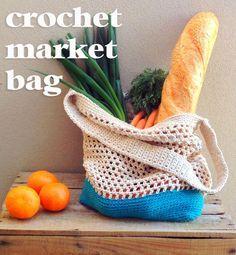 DIY: crochet market tote bag ✿⊱╮Teresa Restegui http://www.pinterest.com/teretegui/✿⊱╮
